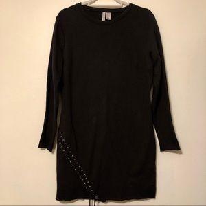 H&M Black Lace Up Tie Grunge Sweatshirt Dress